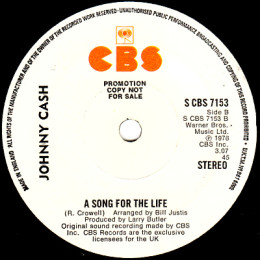 A Song For The Life (CBS 7153) promo