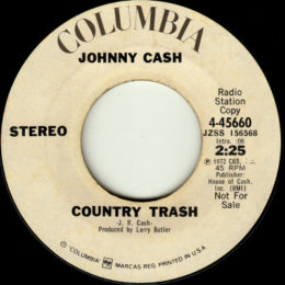 Country Trash (Columbia 4-45660) promo stereo