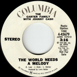 The World Needs A Melody (Columbia 4-45679) stereo promo